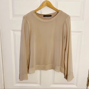 Zara Tan Blouse Knit with Sheer Overlay